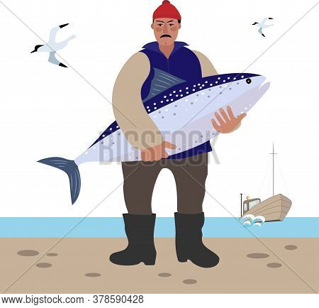 The Sailor Stands With A Large Fish In His Hands.