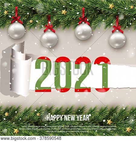 Happy 2021 New Year Merry Christmas Greeting Flat Creative Poster With Decorated Ornament Balls And