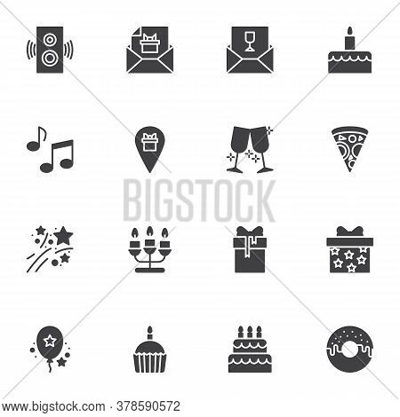 Party Celebration Vector Icons Set, Modern Solid Symbol Collection, Filled Style Pictogram Pack. Sig