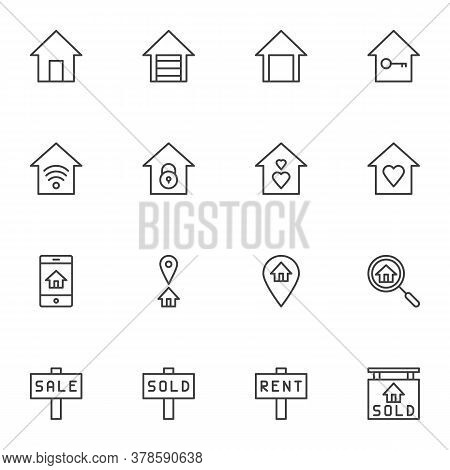 Real Estate Line Icons Set, Outline Vector Symbol Collection, Linear Style Pictogram Pack. Signs, Lo