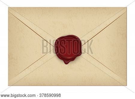 Realistic Closed Vintage Old Aged Letter Envelop With Round Dark Red Wax Seal Stamp. Paper Parchment