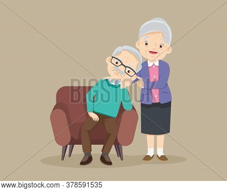Sad Elderly Man Bored, Sad Senior Man Sitting And Senior Woman Comforting Upset Her,grandmother Cons