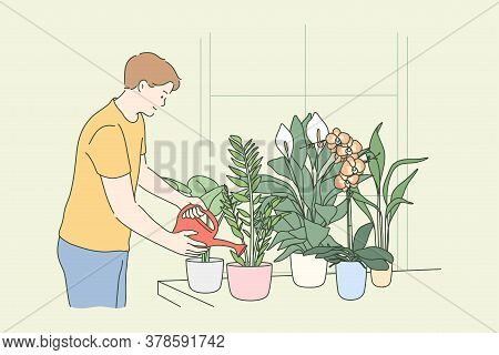 Botanics, Hobby, Lifestyle, Nature, Care, Work Concept. Young Man Or Guy Cartoon Character Florist P