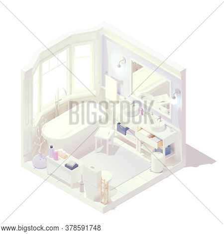 Vector Isometric Bathroom Interior Cross-section With Bathtub And Faucet, Washstands Or Washbasins W