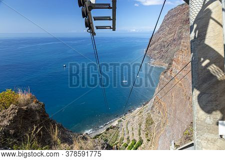 View From Teleferico Das Fajas Do Cabo Girao Cable Car On Te Island Of Madeira In Summer