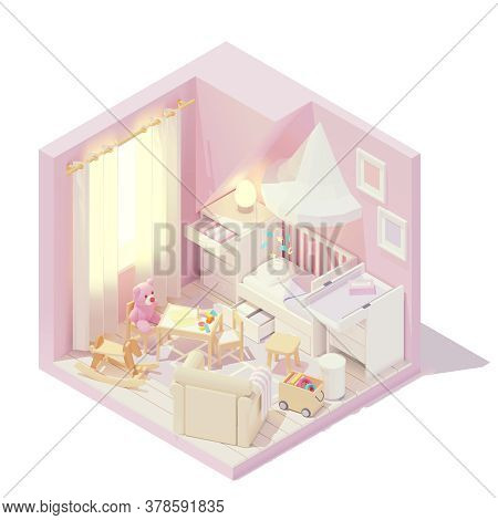 Vector Isometric Kid Or Childrens And Baby Room Cross-section With Wooden Cot Bed, Pink Walls, Carpe