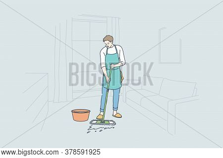 Cleaning, Work, Occupation, Home Concept. Happy Young Man Guy Cartoon Character Household Wears Apro