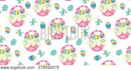 Vector Seamless Pattern With Narcissus Flowers And Wicker Baskets Full Of Easter Colorful Eggs. Grea
