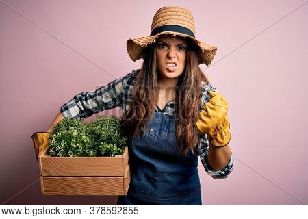 Young beautiful brunette farmer woman wearing apron and hat holding box with plants annoyed and frustrated shouting with anger, crazy and yelling with raised hand, anger concept