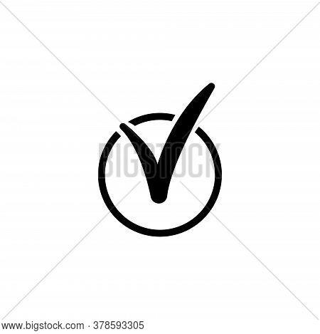 Check List, Tick Mark, Checkmark Vote. Flat Vector Icon Illustration. Simple Black Symbol On White B