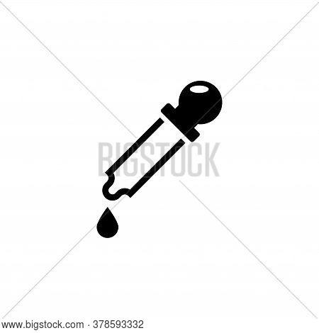 Medicine Dropper, Eyedropper, Pipette. Flat Vector Icon Illustration. Simple Black Symbol On White B