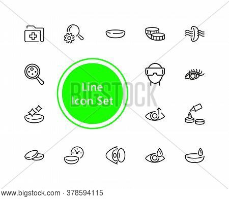 View Icons. Set Of Line Icons. Eyes Care, Contact Lens, Vr Glasses. View Concept. Illustration Can B