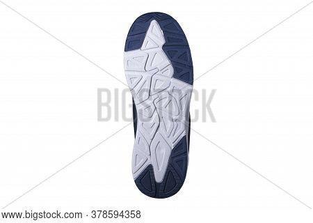 The Rubber Sole Of The Shoes Is White And Blue.