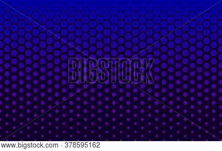 Halftone Technology Banner With Hexagons, Futuristic Blue Gradient Background, Digital Element, Hexa