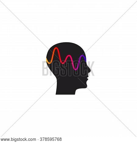 Brain Activity And Wave, Profile Of Person With Mental Activity, Symbol Of Therapy, Creativity, Psyc