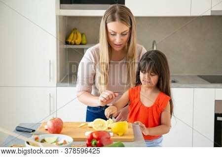 Focused Mom Watching Her Girl Cutting Fresh Vegs In Chopping Board. Kid Helping Mother To Cook Dinne