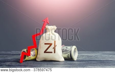 Polish Zloty Money Bag And Red Arrow Up. Growth Of Economy And Increase Of Investment Attractiveness