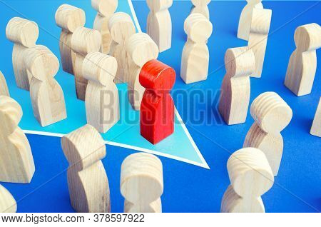A Red Leader With A Team Formation In A Single Direction Breaks Through The Crowd. Breaking New Grou
