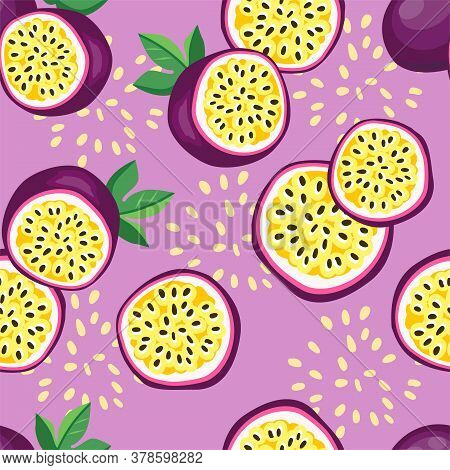 Hand Drawn Vector Seamless Pattern Passion Fruit. Print Design For Fashionable Textile. Fruit Trendy