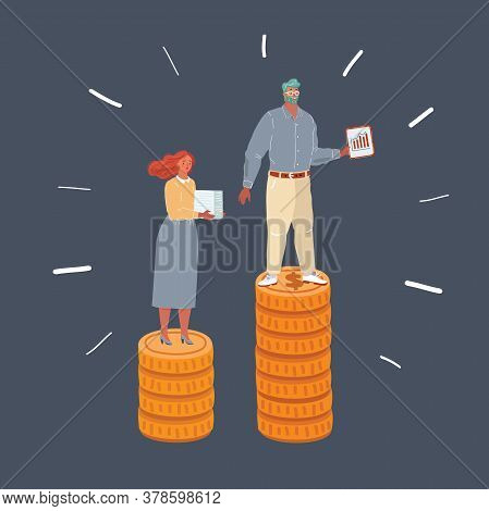 Illustration Of Woman And Man Standing At Coins Stacks. Weige Inequality Earnings, Salary Concept On