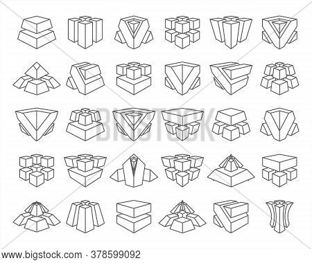 Lineart Abstract Cubes Geometric Isolated Set Vector Design Illustration