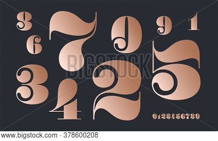 Number Font. Font Of Numbers In Classical French Didot Or Didone Style With Contemporary Geometric D