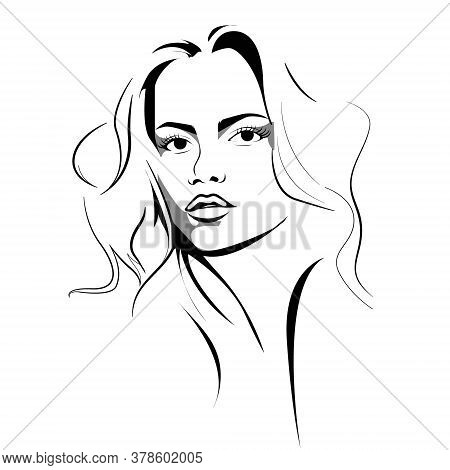 Fashion Girl. Beautiful Young Woman With Fair Long Hair. Vector Beauty Salon Icon.