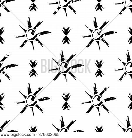 Vector Grunge Ethnic And Tribal Motifs Seamless Pattern Background. Black And White Backdrop With St