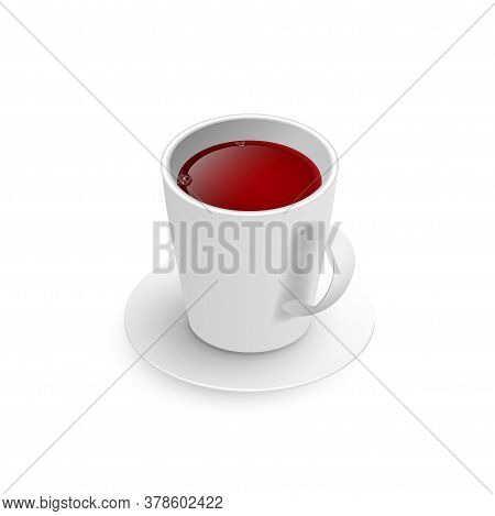 Realistic 3d Cup Of Hot Aromatic Freshly Brewed Drink Black Tea. A Teacup Isometric View Isolated On