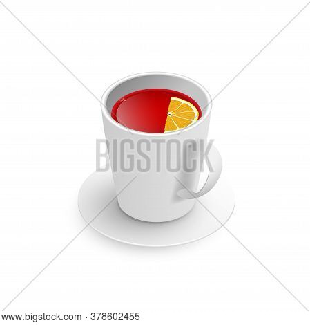 Realistic 3d Cup Of Hot Aromatic Healthy Herbal Rooibos Or Hibiscus Red Tea With Lemon. A Teacup Iso