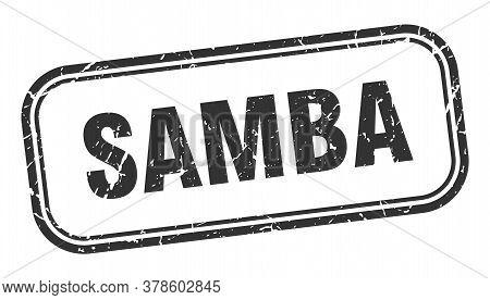 Samba Stamp. Samba Square Grunge Black Sign