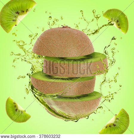 Illustration For Advertising Kiwi Juice. Sliced Juicy Kiwi On The Move. Around Freshly Squeezed Juic