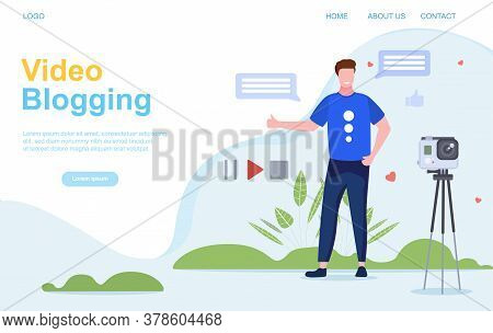 Vlogging Or Video Blogging Concept With The Young Man Shooting Video Clip For Social Networks. Flat