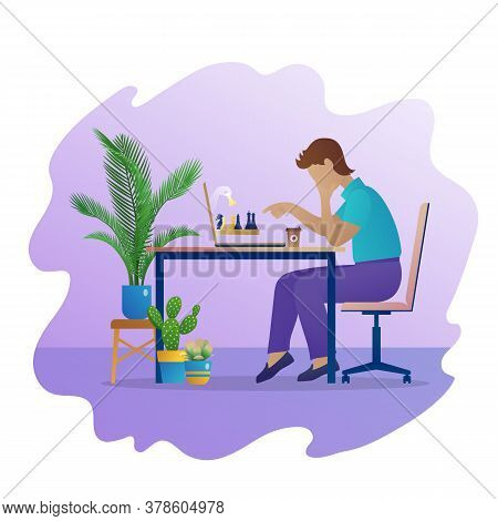 Man Play Chess Game Online. Pensive Man Sitting At Table In Front Of Laptop Screen Concentrated On S