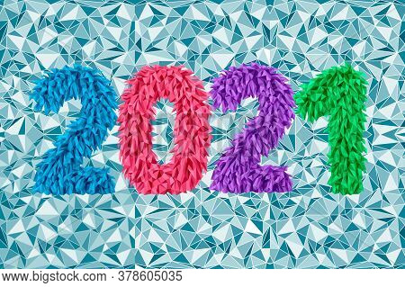 Vector Inscription 2021 From Geometric Triangle Stylized Frosty Icicles