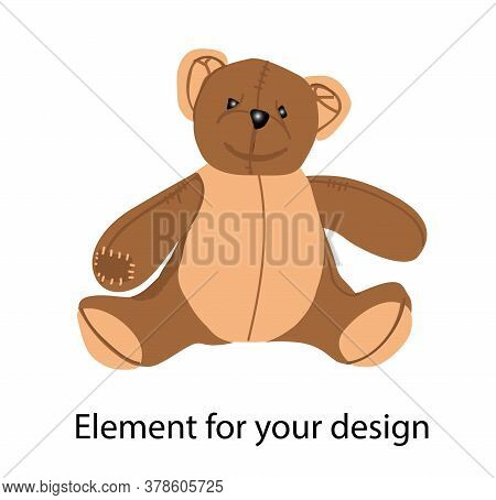 The Brown Bear. Teddy Bear. Plush Toy. Illustration Isolated On A White Background.