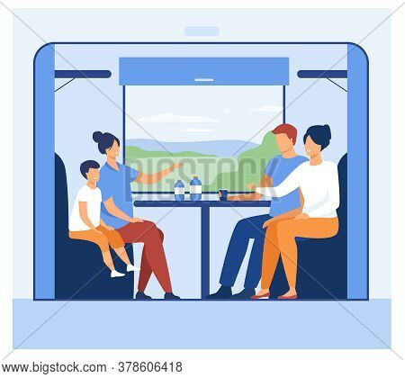 Happy People Travelling By Train. Cartoon Passengers Sitting On Couches At Window And Talking. Vecto