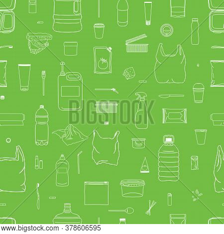 Seamless Pattern Of Colorful Garbage. Line Icons.