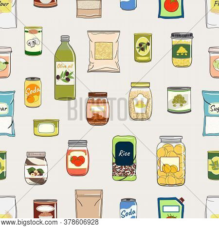 Seamless Pattern Of Canned Food. Preserved Food In Cans, Glass Jars, Metal Cans, Packs Of Cereals. E