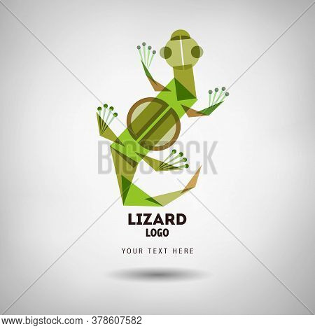 Abstract Geometrical Style Lizard Logo. Vector Isolated Emblem