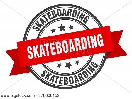 Skateboarding Label. Skateboardinground Band Sign. Skateboarding Stamp