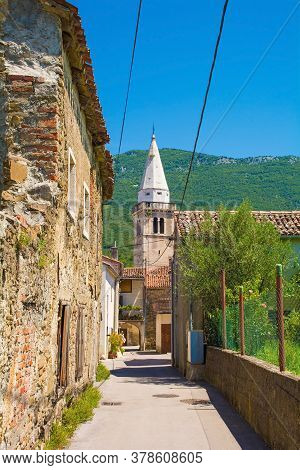 A Lane In The Centre Of Podnanos, A Village In The Upper Vipava Valley In The Municipality Of Vipava