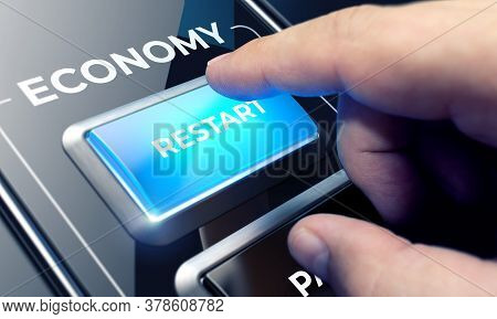 Restart Of Economy Concept. Finger Pressing A Blue Button To Restart National Economy After Crisis.