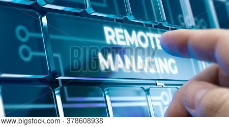 Man Using A Remote Managing System By Pressing A Button On Futuristic Interface. Business Concept