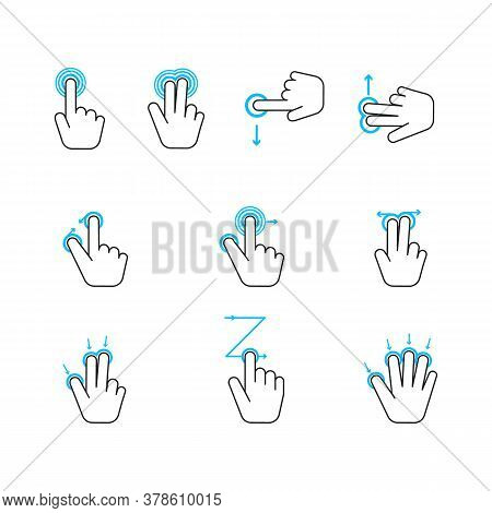 Hand Touchscreen Gestures Device Icon Set. Vector Illustration Of Touch Screen And Gesture Icons