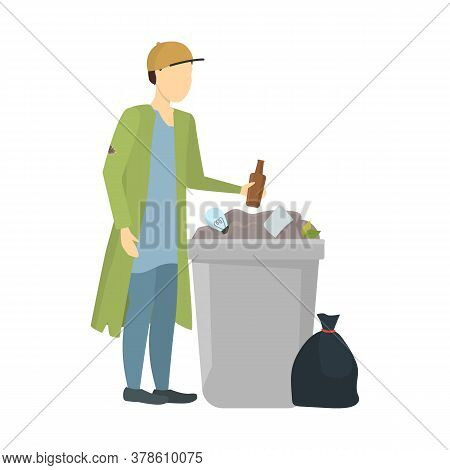 Cartoon Color Character Homeless Person And Trashcan Needy In Social Help Concept. Vector Illustrati