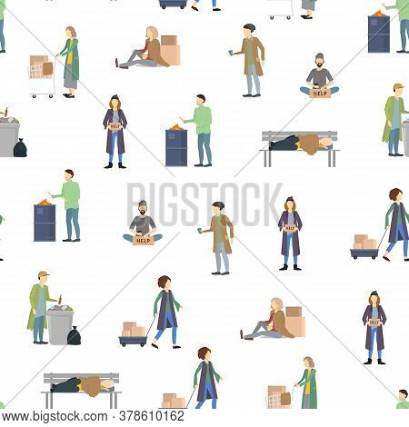 Cartoon Characters Homeless People Seamless Pattern Background On A White Needy In Social Help Conce