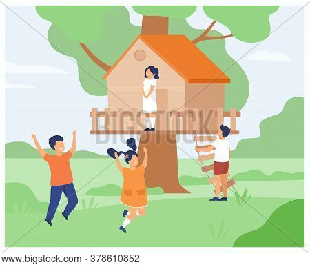 Boys And Girls Playing At Treehouse. Children Enjoying Summer Adventures With Their Wooden Hut, Runn