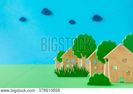 Art Design Picture Of Nice Green Eco Settlement Cottage Building In Park Zone Fresh Air Isolated Ove