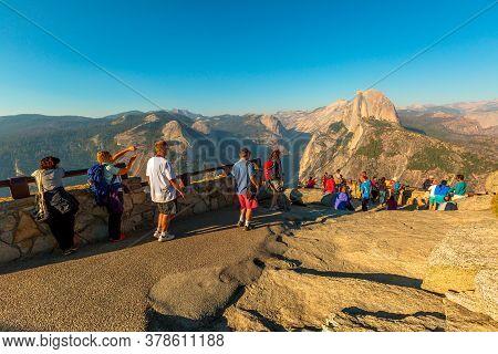 Yosemite, California, United States - July 23, 2019: Glacier Point In Yosemite National Park. Touris